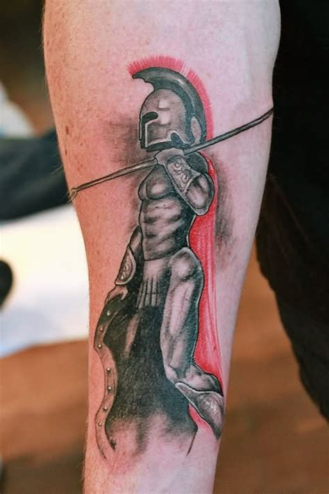 spartan tattoo on forearm by nissta