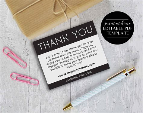 etsy thank you card template printable etsy shop thank you cards instant