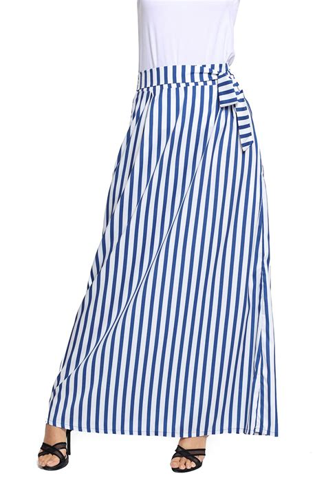 Striped Maxi trendy light blue striped maxi skirt wholesale