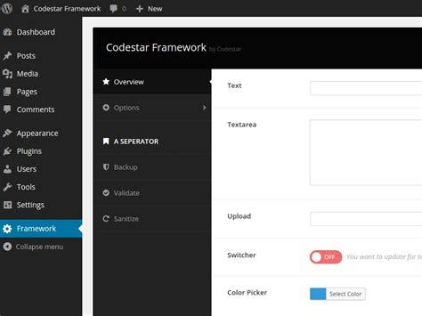 wordpress layout framework wordpress options framework codestar