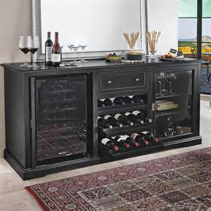 Wall Hanging Hutch Wine Enthusiast Siena Wine Credenza Nero With 28 Bottle