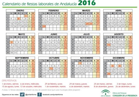 Calendario 2018 Andalucia Calendario Laboral Andaluc 237 A 2017 Definanzas