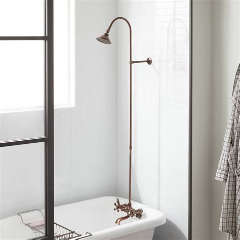 exposed pipe shower amp tub faucet with watering can shower