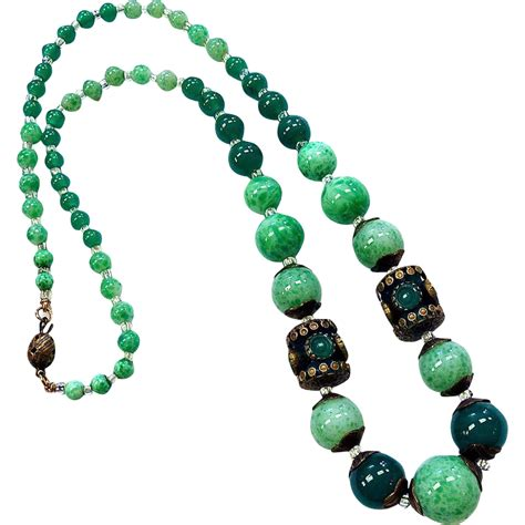 green bead necklace deco green glass bead brass necklace from