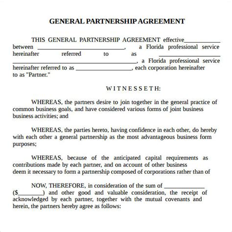 general partnership agreement template partnership agreement 9 free pdf doc