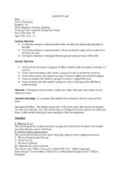 lesson plan 10 octavo past simple tense english teaching worksheets simple past