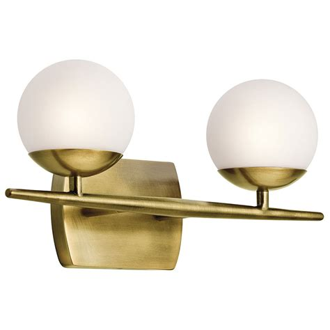 modern bathroom vanity light fixtures kichler 45581nbr jasper modern natural brass halogen 2 light bathroom vanity light fixture kic