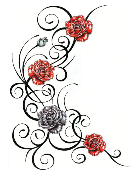 roses on a vine tattoo designs roses with tribal design clipart best clipart best