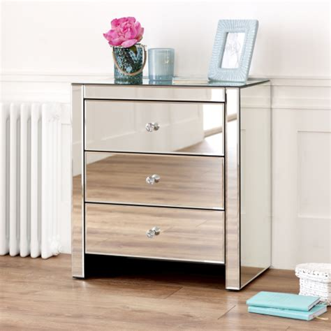 venetian mirrored glass 3 drawer wide bedside table