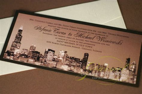 stefanie michael chicago custom wedding invitations gourmet invitations - Chicago Custom Wedding Invitations