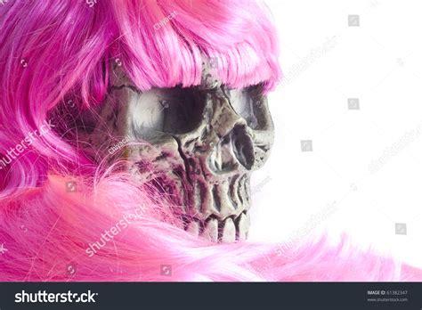 skulls that belinda peregrin wears in hair skull wearing pink hair and sunglasses stock photo