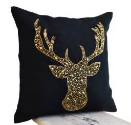 deer pillows animal pillow with stag embroidered by