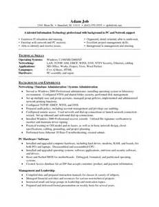 network security resume sle entry level system administrator resume sales