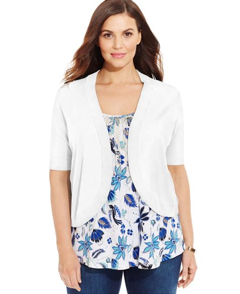 Charter Club Blouse Ccb Branded Tunik charter club plus size sleeve cropped bolero cardigan in white lyst