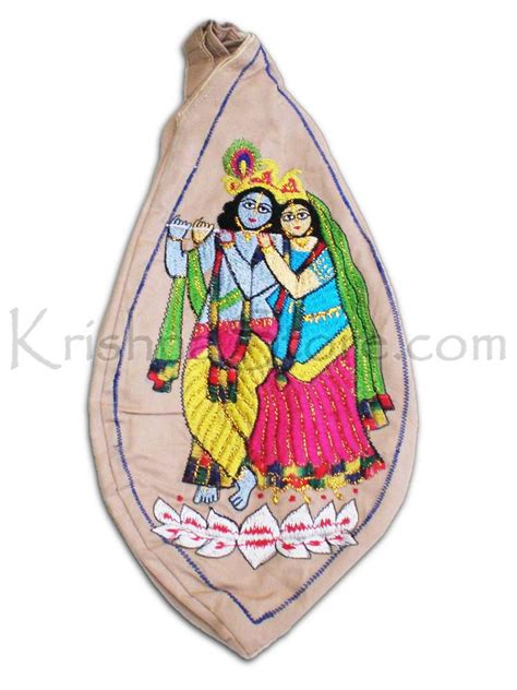 japa bead bag radha and krishna standing on lotus japa bead bag