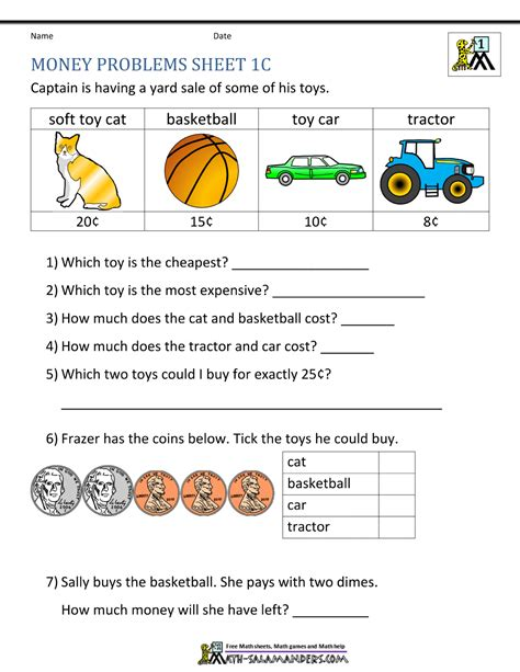 Money Worksheets 1st Grade by Money Worksheets For Grade