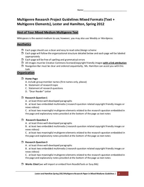 multigenre research paper multigenre research project guidelines mixed formats text