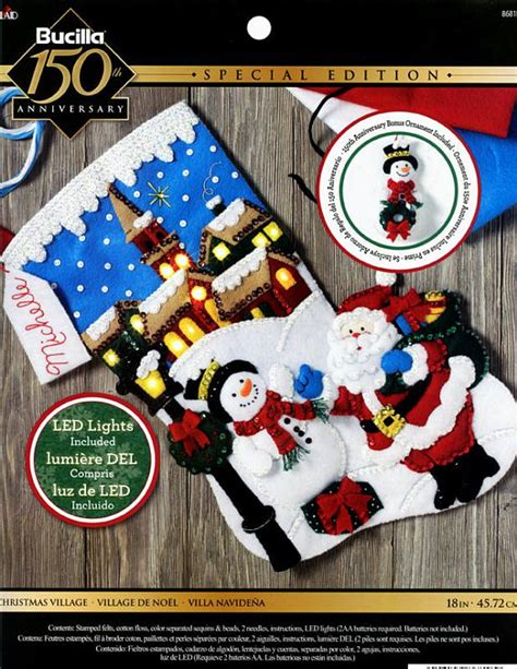 christmas village light kit bucilla christmas village 18 quot felt stocking kit 86818