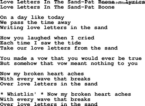 Letter In The Sand Pat Boone Lyrics Song Lyrics For Letters In The Sand Pat Boone