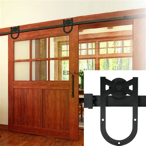 Barn Door Stops Modern Barn Sliding Door Stops Closet Hardware Steel Track System 6ft 6 6ft Ey6e Ebay