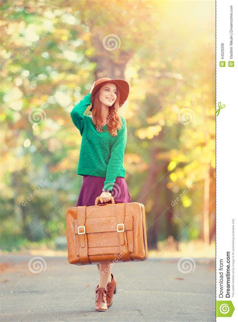 gorgeous red suitcases girl with suitcase stock photo image 44029338