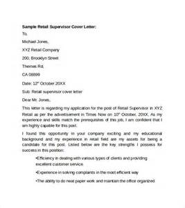 Supervisor Retail Cover Letter by Sle Retail Cover Letter Template 9 Free Documents In Pdf Word