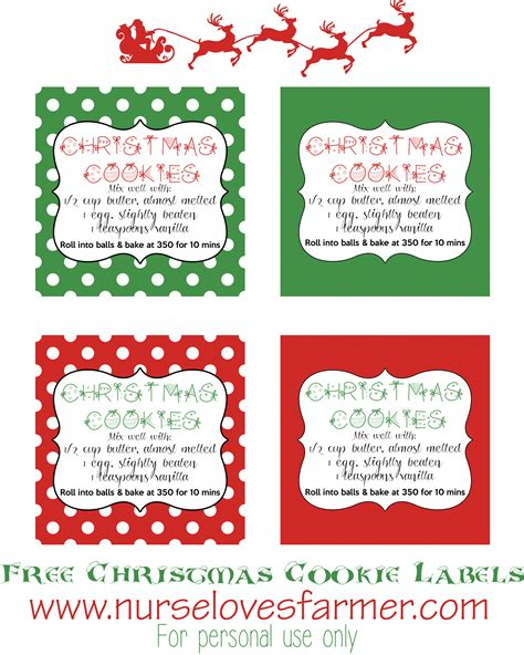 Free Printable Holiday Worksheets Free Christmas Cookies | 7 best images of christmas cookie labels free printables
