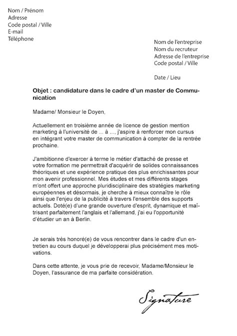 Exemple Lettre De Motivation école De Communication Lettre De Motivation Master Communication Mod 232 Le De Lettre