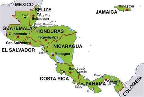 central america map with states and capitals map of central america countries and capitals