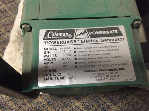 watt coleman powermate powerbase generator  sale hdr small engine repair