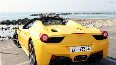 ferrari 458 back yellow ferrari 458 spider back view wallpaper car