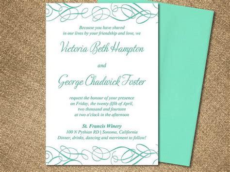 Whimsical Swirl Wedding Invite Microsoft Word Template Mint Blue Sea Green Flourish 4 5 X 6 Mint Green Wedding Invitation Template