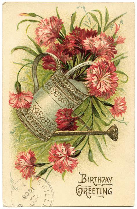 printable birthday cards vintage pail of flowers vintage birthday card old design shop blog