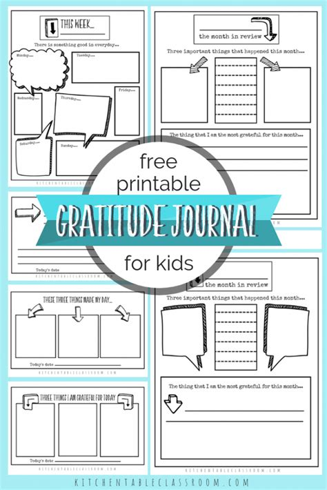 Gratitude Journal Prompts Free Printable Gratitude Journal Templates The Kitchen Table Classroom Gratitude Journal Template