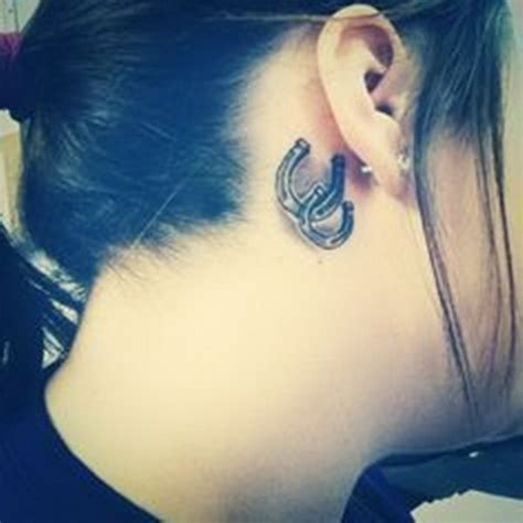 Horseshoe Tattoo Behind Ear | 50 most beautiful behind the ear tattoos that every girl