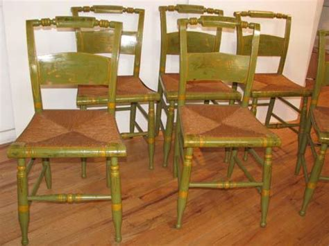 set of 6 painted antique hitchcock chairs