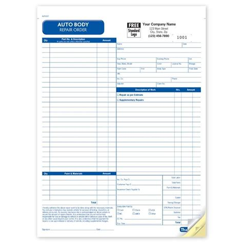auto repair shop receipt template auto invoice template hardhost info