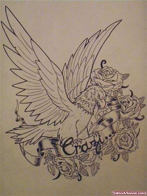 eagle tattoo with roses rose flower and eagle tattoo design tattoo viewer com