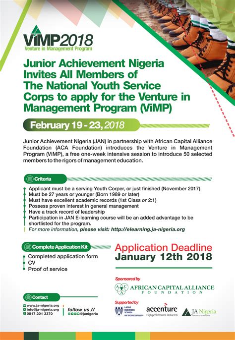 Mba Programs In Lagos by Apply Junior Achievement Nigeria To Host Vimp For Nysc