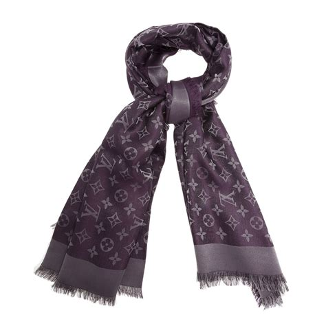 louis vuitton purple monogram wool silk shawl my