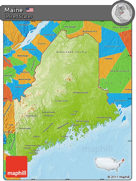 physical map of maine free physical map of maine political outside