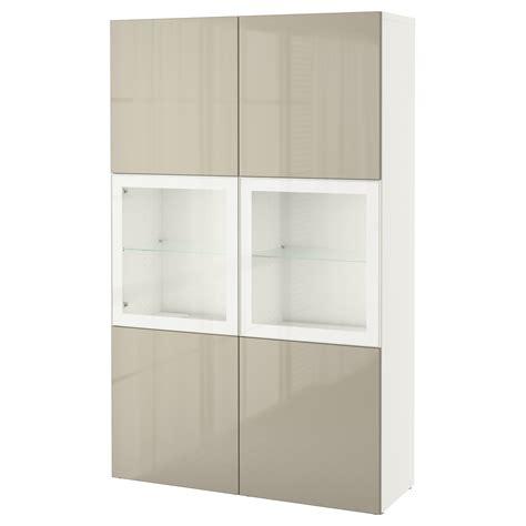 besta high gloss best 197 storage combination w glass doors white selsviken