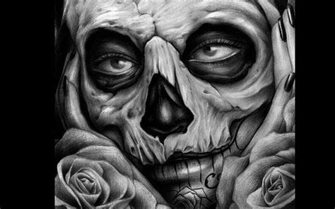 skull tattoo art drawing by peter harley