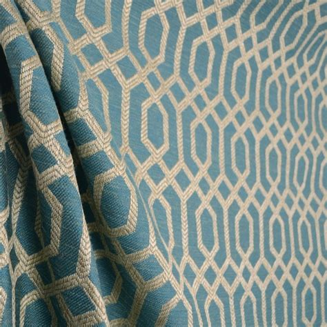 geometric fabric upholstery parquet slate teal blue light beige grey geometric trellis