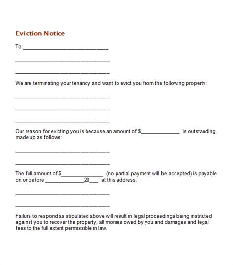 tenant eviction letter template 4 eviction notice templates word excel pdf formats