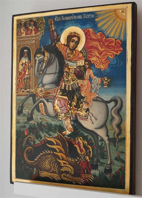 george the st george the trophy bearer painted icon blessedmart