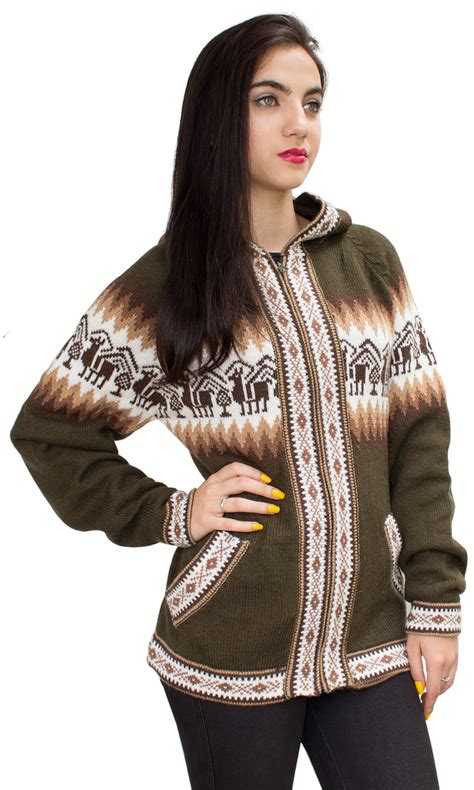 Sweater Hoodiee Jumper Sweater Pria Gc llamas hooded alpaca wool knitted jacket hoodie sweater ebay