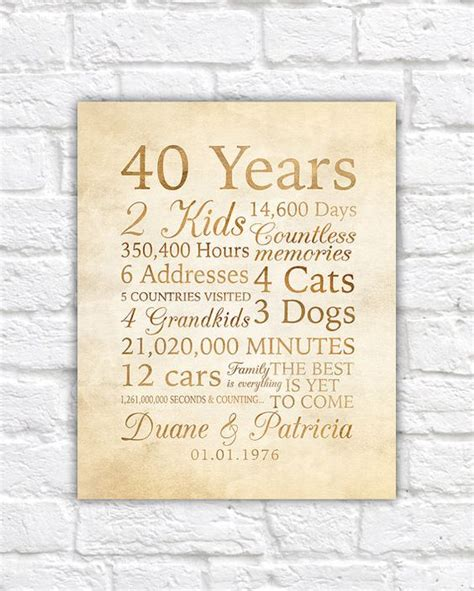 wedding anniversary quotes for inlaws 40 year anniversary 40th anniversary gift for parents