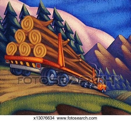 drawings of logging truck on road x13076634 search clip
