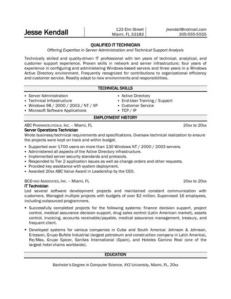 it computer technician resume sle sidemcicek
